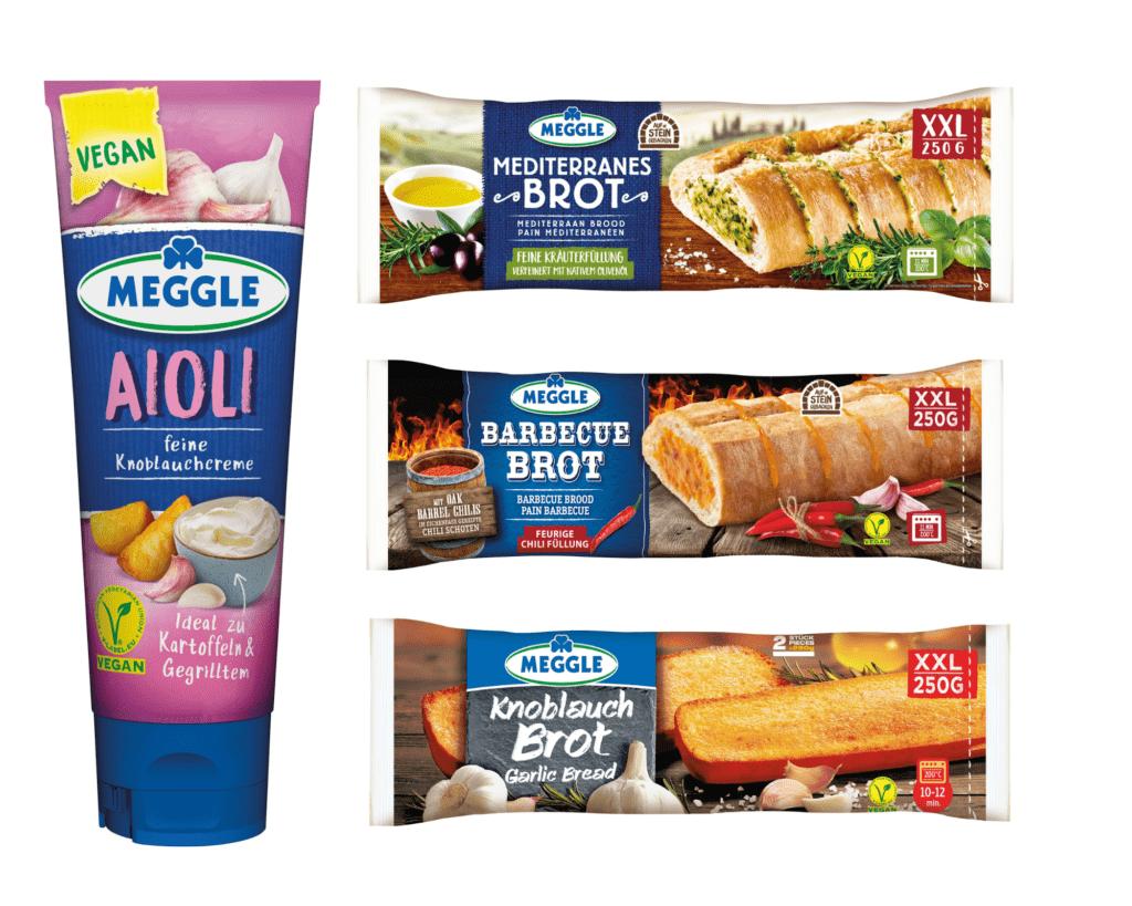 Produktfotos der veganen Produkte von Meggle: Aioli, Mediterranes Brot, Knoblauchbrot und Barbecue Brot