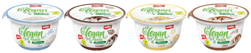 Produktfotos der veganen Milchreisalternativen von Müller in den Geschmacksrichtungen Pur, Schoko, Vanille und Zimt