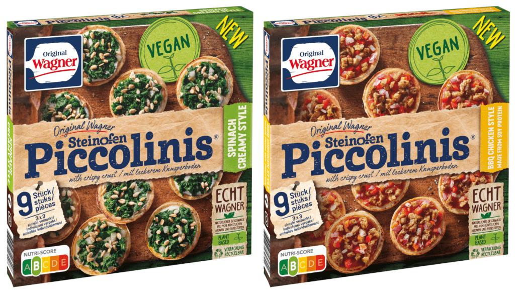 Produktfotos der veganen Piccolinis von Wagner in den Geschmacksrichtungen Spinach Creamy Style und BBQ Chicken Style