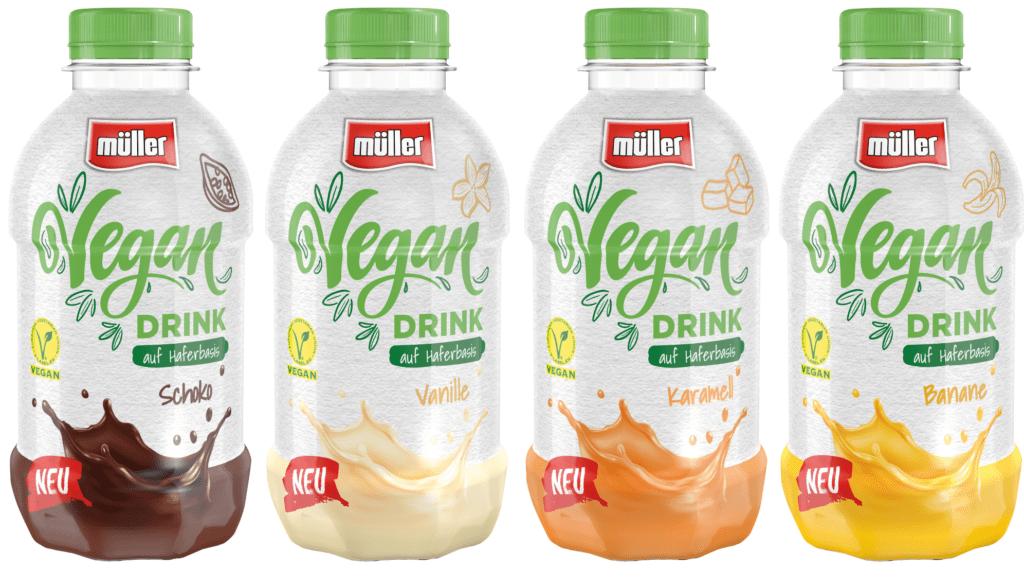 Produktfotos der pflanzlichen Müller Milchalternativen in den Geschmacksrichtungen Schoko, Vanille, Karamell und Banane